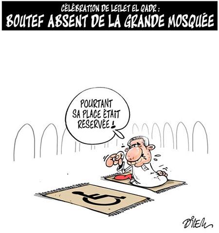 Boutef absent de la grande mosquée - Dessins et Caricatures, Dilem - Liberté - Gagdz.com