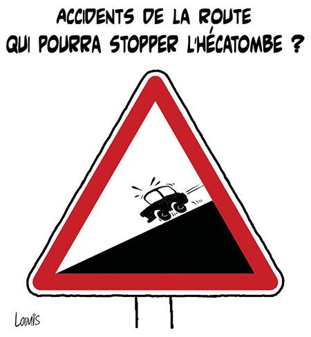 Accidents de la route: Qui pourra stopper l'hécatombe ? - Dessins et Caricatures, Lounis Le jour d'Algérie - Gagdz.com