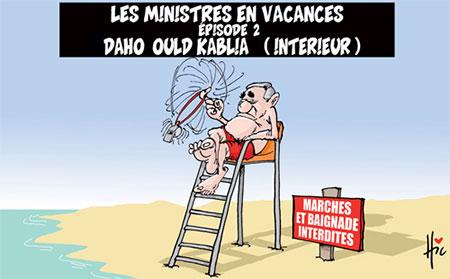 Les ministres en vacances: Daho Ould Kablia (interieur) - Dessins et Caricatures, Le Hic - El Watan - Gagdz.com