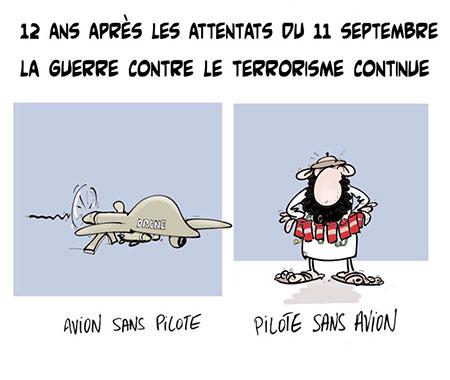 12 ans après les attentats du 11 septembre, la guerre contre le terrorisme continue - Dessins et Caricatures, Lounis Le jour d'Algérie - Gagdz.com