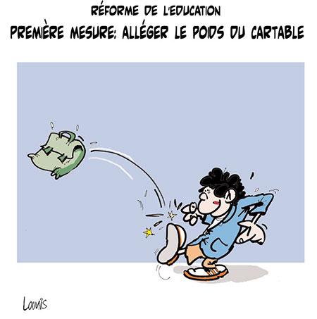 Réforme de l'éducation, première mesure: Alléger le poids du cartable - Dessins et Caricatures, Lounis Le jour d'Algérie - Gagdz.com