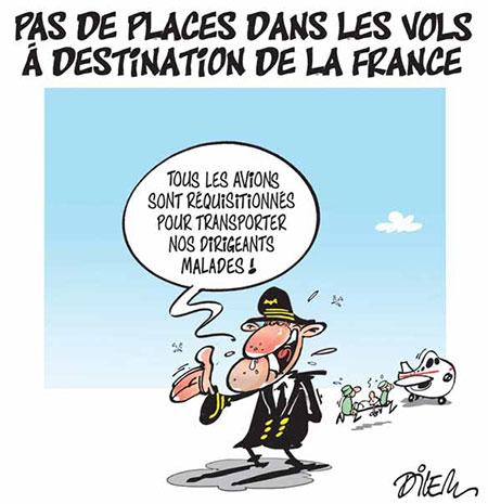 Pas de places dans les vols à destination de la France - Dessins et Caricatures, Dilem - Liberté - Gagdz.com