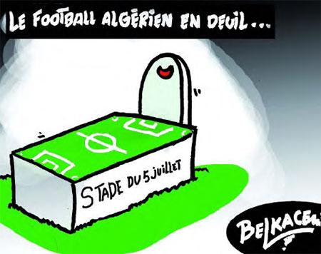 Le football algérien en deuil - Belkacem - Le Courrier d'Algérie, Dessins et Caricatures - Gagdz.com