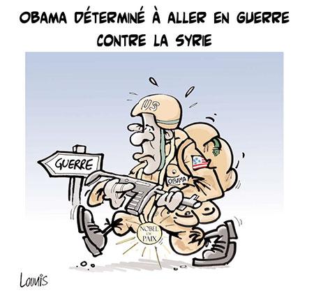 Obama déterminé à aller en guerre contre la Syrie - Dessins et Caricatures, Lounis Le jour d'Algérie - Gagdz.com