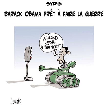 Syrie: Barack Obama prêt à faire la guerre - Dessins et Caricatures, Lounis Le jour d'Algérie - Gagdz.com