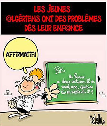 Les jeunes algériens ont des problèmes dès leur enfance - Dessins et Caricatures, Islem - Le Temps d'Algérie - Gagdz.com