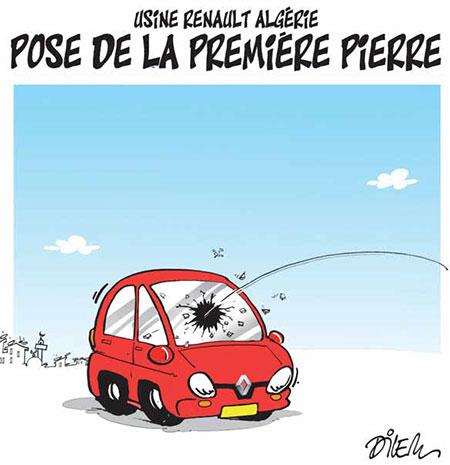 Usine renault Algérie: Pose de la première pierre - Dessins et Caricatures, Dilem - Liberté - Gagdz.com