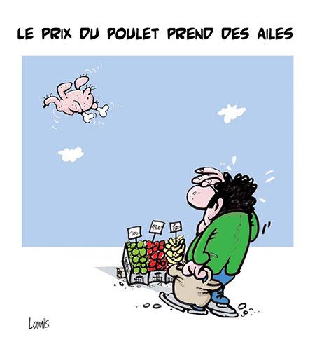 Le prix du poulet prend des ailes - Dessins et Caricatures, Lounis Le jour d'Algérie - Gagdz.com