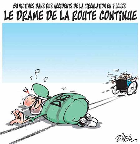 Le drame de la route continue - Dessins et Caricatures, Dilem - Liberté - Gagdz.com