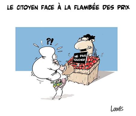 Le citoyen face à la flambée des prix - Dessins et Caricatures, Lounis Le jour d'Algérie - Gagdz.com