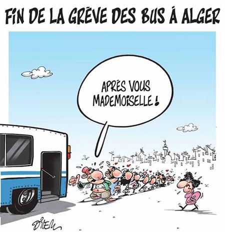 Fin de la grève des bus à Alger - Dessins et Caricatures, Dilem - Liberté - Gagdz.com