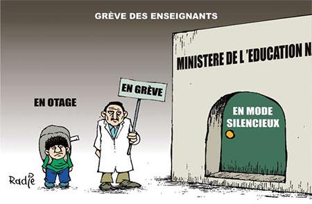 Grève des enseignants - Dessins et Caricatures, Ghir Hak - Les Débats - Gagdz.com