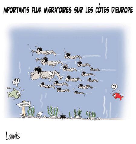 Importants flux migratoires sur les côtes d'Europe - Dessins et Caricatures, Lounis Le jour d'Algérie - Gagdz.com