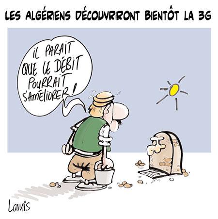 Les Algériens découvriront bientôt la 3G - Dessins et Caricatures, Lounis Le jour d'Algérie - Gagdz.com