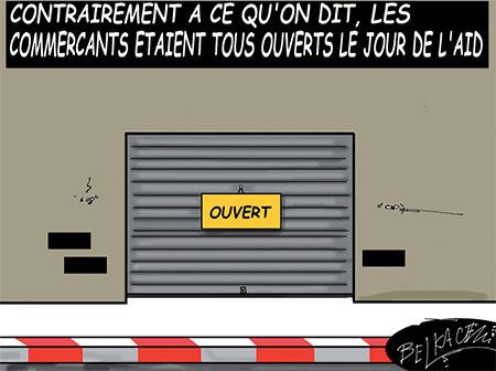 Les commerçants étaient tous ouverts le jour de l'aid - Belkacem - Le Courrier d'Algérie, Dessins et Caricatures - Gagdz.com