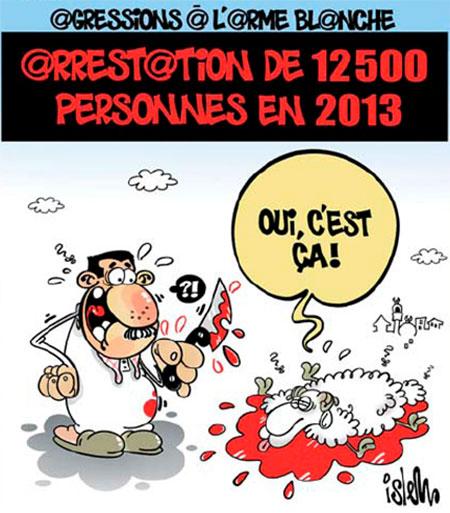 Agressions à l'arme blanche: Arrestation de 12500 personnes en 2013 - Dessins et Caricatures, Islem - Le Temps d'Algérie - Gagdz.com
