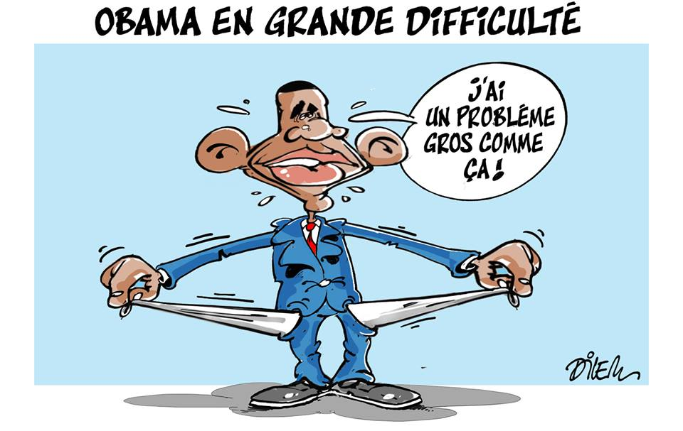 Obama en grand difficulté - Dessins et Caricatures, Dilem - TV5 - Gagdz.com