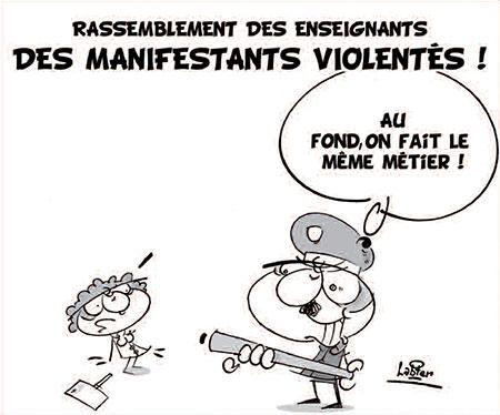 Rassemblement des enseignants: Des manifestants violentés - Dessins et Caricatures, Lounis Le jour d'Algérie - Gagdz.com