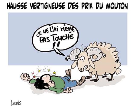 Hausse vertigineuse des prix du mouton - Dessins et Caricatures, Lounis Le jour d'Algérie - Gagdz.com