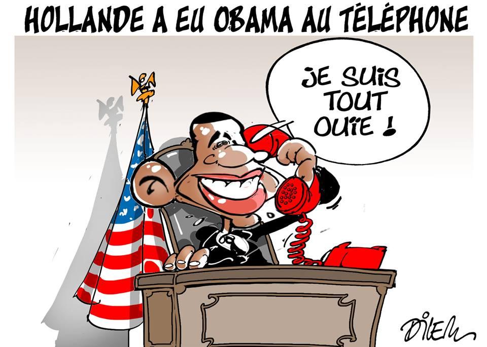 Hollande a eu Obama au téléphone - Dessins et Caricatures, Dilem - TV5 - Gagdz.com
