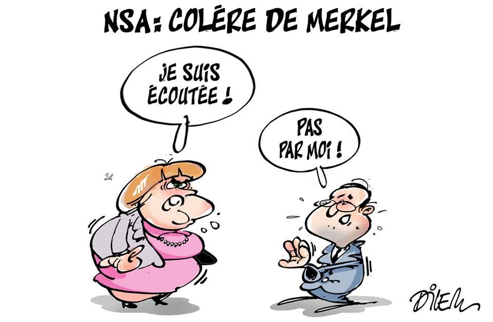NSA : Colère de Merkel - Dessins et Caricatures, Dilem - TV5 - Gagdz.com