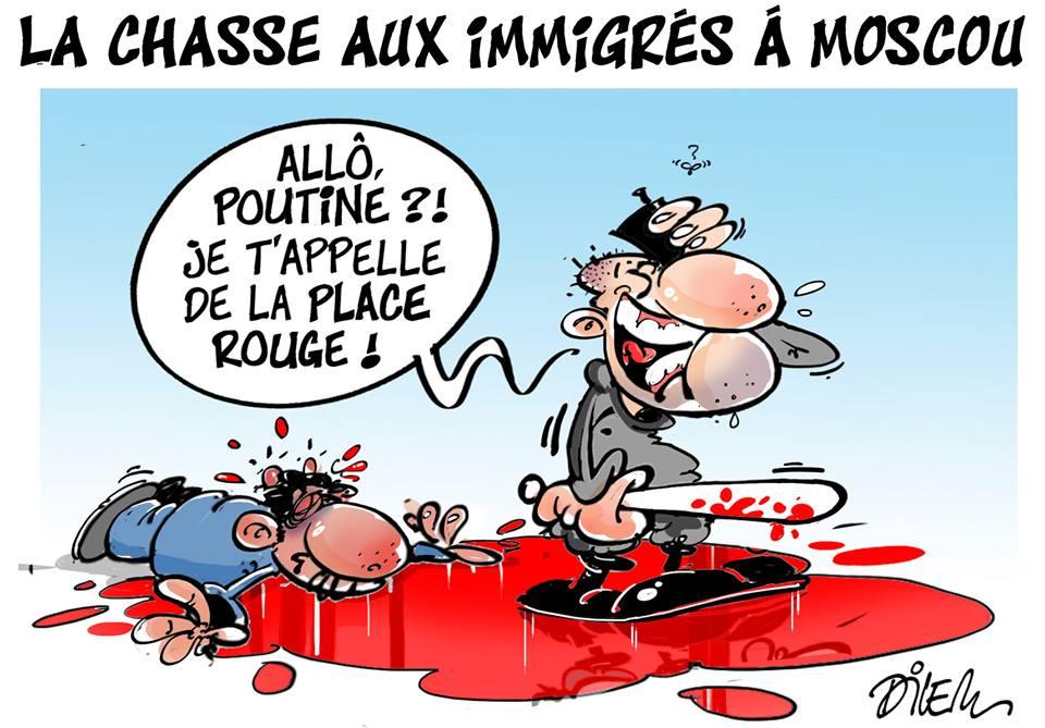 Chasse aux immigrés à Moscou - Dessins et Caricatures, Dilem - TV5 - Gagdz.com
