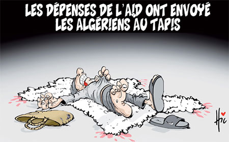 Les dépenses de l'aid ont envoyé les algériens au tapis - Dessins et Caricatures, Le Hic - El Watan - Gagdz.com