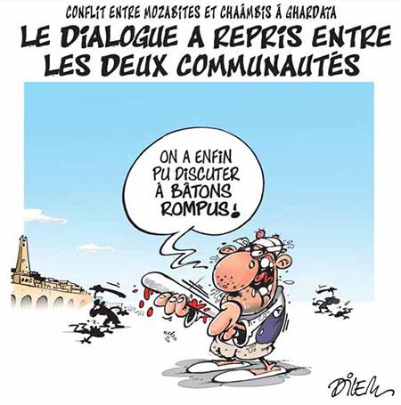 Conflit entre mozabites et chaambis à ghardaia - Dessins et Caricatures, Dilem - Liberté - Gagdz.com