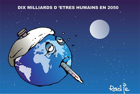 Dix milliards d'êtres humains en 2050 - Dessins et Caricatures, Ghir Hak - Les Débats - Gagdz.com