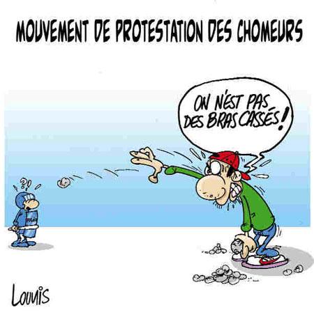 Mouvement de protestation des chomeurs - Dessins et Caricatures, Lounis Le jour d'Algérie - Gagdz.com