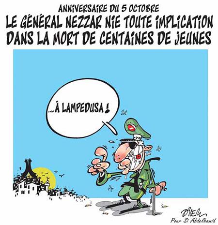 Le général Nezzar nie toute implication dans la mort de centaines de jeunes - Dessins et Caricatures, Dilem - Liberté - Gagdz.com