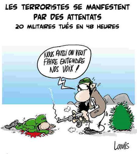 Les terroristes se manifestent par des attentats: 20 militaires tués en 48 heures - Lounis Le jour d'Algérie - Gagdz.com