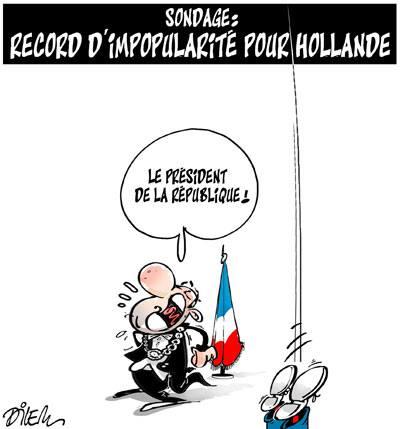 Sondage : Record d'impopularité pour Hollande - Dessins et Caricatures, Dilem - TV5 - Gagdz.com