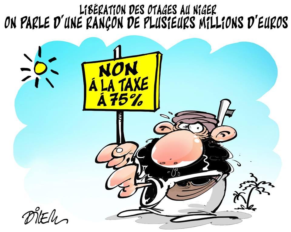 Libération des otages au Niger : On parle d'une rançon de plusieurs millions d'euros - Dessins et Caricatures, Dilem - TV5 - Gagdz.com