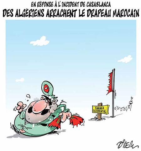 Des Algériens arrachent le drapeau marocain - Dilem - Liberté - Gagdz.com