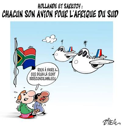Hollande et Sarkozy : Chacun son avion pour l'Afrique du sud - Dilem - TV5 - Gagdz.com