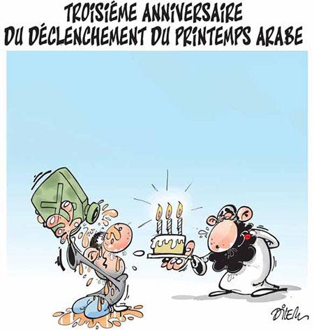 Troisième anniversaire du déclenchement du printemps arabe - Dilem - Liberté - Gagdz.com