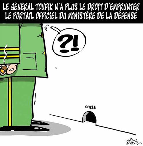 Le général Toufik n'a plus le droit d'emprunter le portail officiel du ministère de la défense - Dilem - Liberté - Gagdz.com