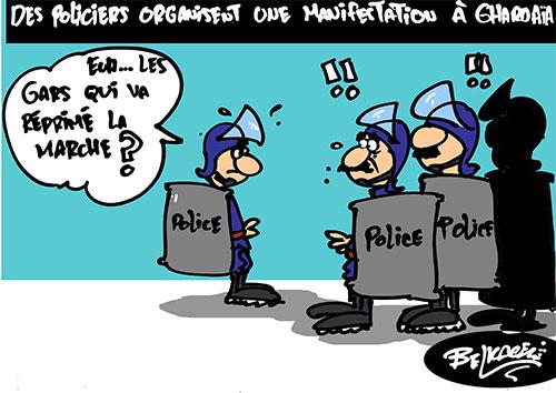 Des policiers organisent une manifestation à Ghardaia - Belkacem - Le Courrier d'Algérie - Gagdz.com