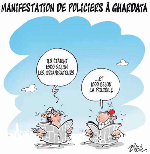Manifestation de policiers à Ghardaia - Dilem - Liberté - Gagdz.com