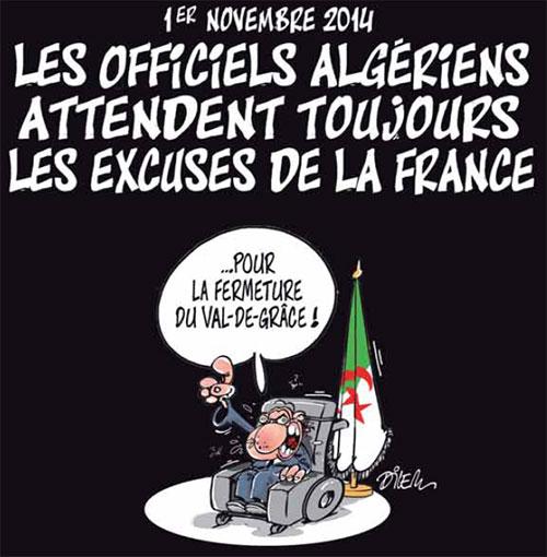 1er novembre: Les officiels algériens attendent toujours les excuses de la France - Dilem - Liberté - Gagdz.com