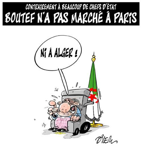 Contrairement à beaucoup de chefs d'état: Boutef n'a pas marché à Paris - Dilem - Liberté - Gagdz.com