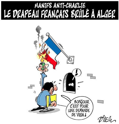 Manif anti-charlie: Le drapeau français brûlé à Alger - Dilem - Liberté - Gagdz.com