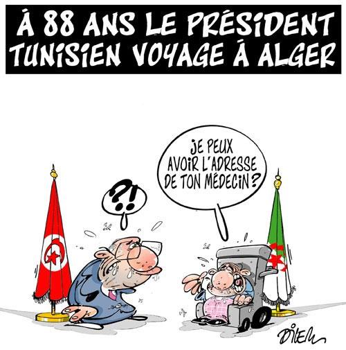 A 88 ans le président tunisien voyage à Alger - Dilem - Liberté - Gagdz.com