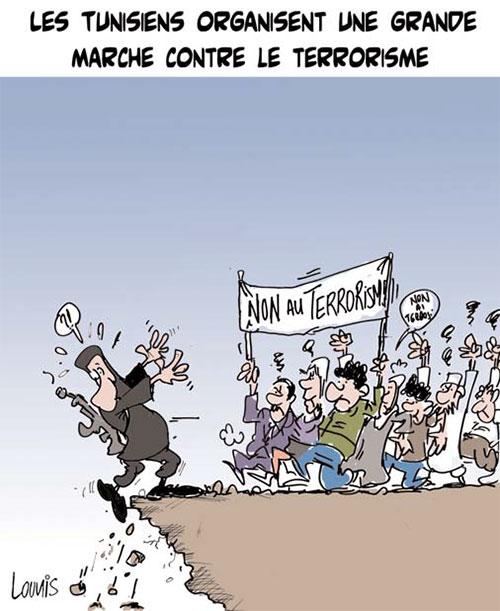 Les Tunisiens organisent une grande marche contre le terrorisme - Lounis Le jour d'Algérie - Gagdz.com
