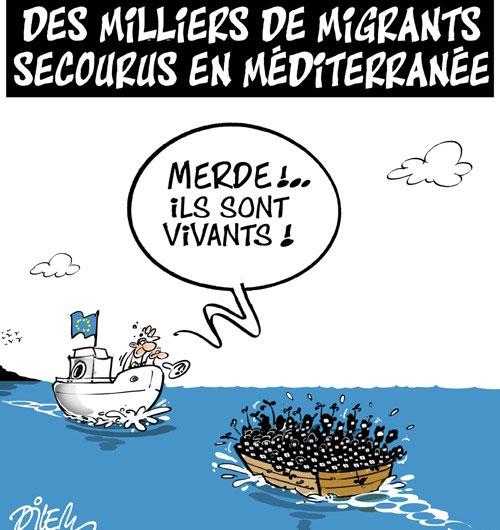 Des milliers de migrants secourus en méditerranée - Dilem - Liberté - Gagdz.com