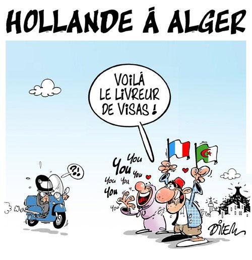 Hollande à Alger - Dilem - Liberté - Gagdz.com