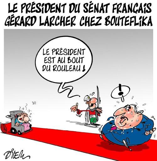 Le président du sénat français Gérard Larcher chez Bouteflika - Dilem - Liberté - Gagdz.com