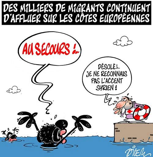 Des miliers de migrants continuent d'affluer sur les côtes européennes - Dilem - Liberté - Gagdz.com