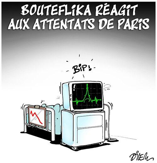 Bouteflika réagit aux attentats de Paris - Dilem - Liberté - Gagdz.com